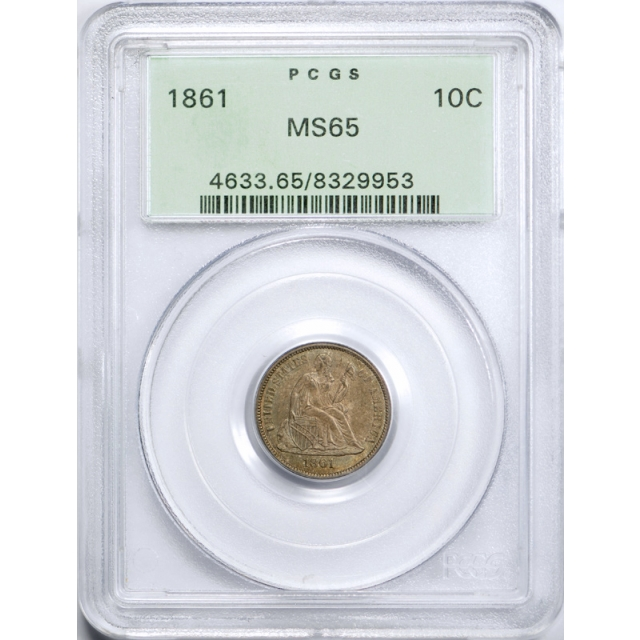 1861 10C Seated Liberty Dime PCGS MS 65 Uncirculated Toned OGH Civil War Date !