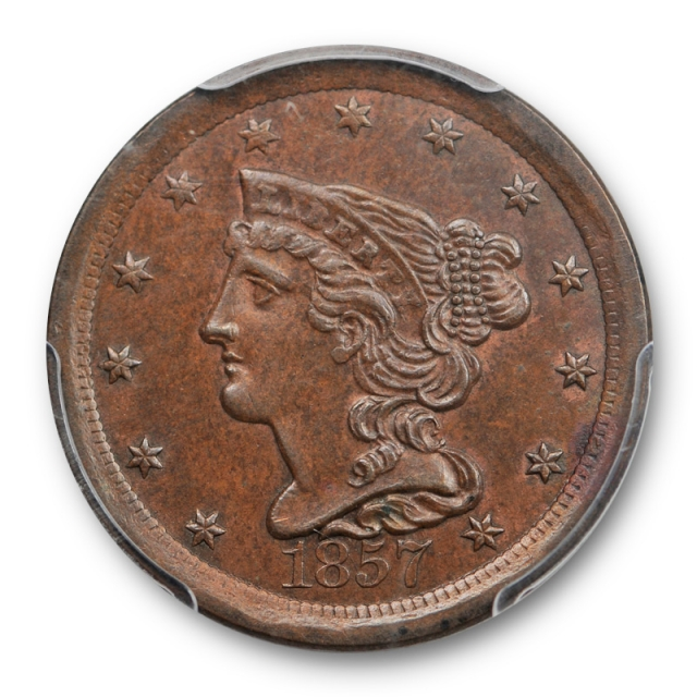 1857 1/2C Braided Hair Half Cent PCGS MS 63 BN Uncirculated Brown Key Date !