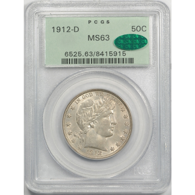 1912 D 50C Barber Half Dollar PCGS MS 63 Uncirculated OGH CAC Approved Cert#5915