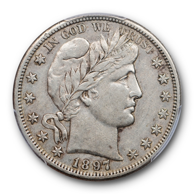 1897 S 50C Barber Half Dollar PCGS XF 40 Extra Fine CAC Approved Pop 6 !