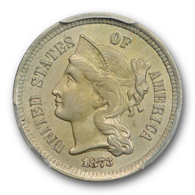 1873 3CN Closed 3 Three Cent Nickel PCGS MS 63 Uncirculated Original Toned