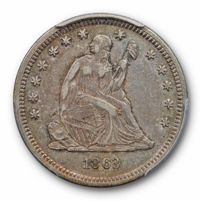 1863 25C Seated Liberty Quarter PCGS XF 40 Extra Fine Civil War Era Date