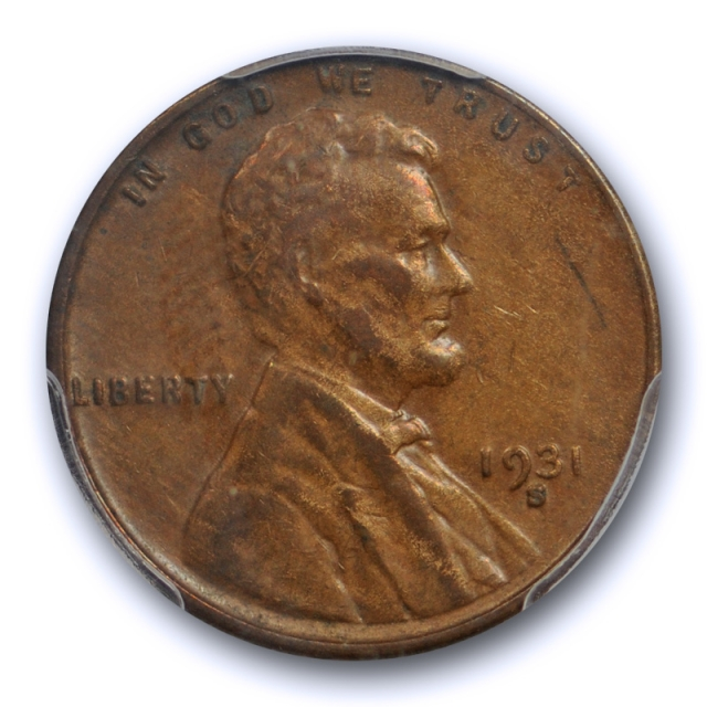 1931 S 1C Lincoln Wheat Cent PCGS XF 45 Extra Fine to About Uncirculated Cert#9919