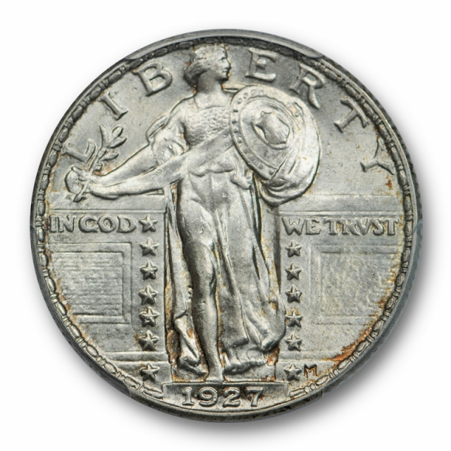 1927 25C Standing Liberty Quarter PCGS MS 63 Uncirculated Lightly Toned Original