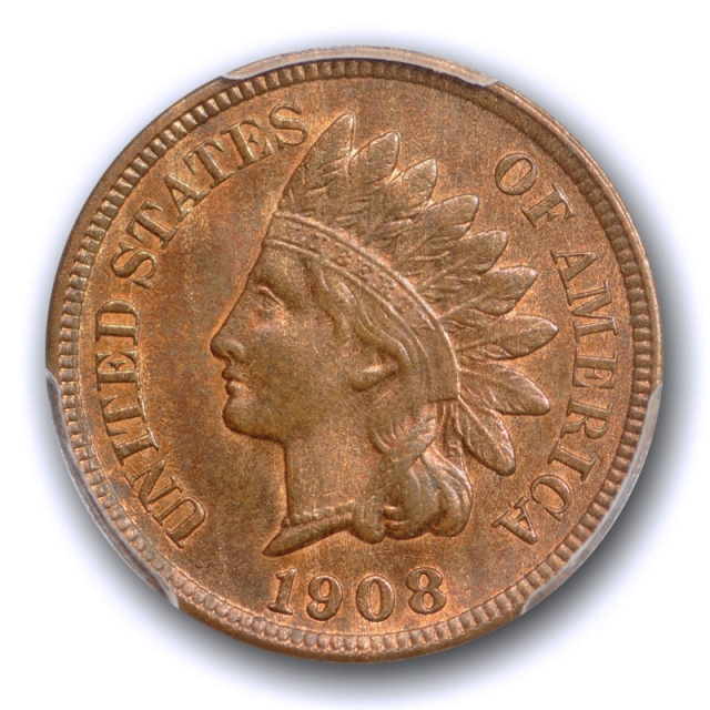 1908 S 1C Indian Head Cent PCGS MS 65 RB Uncirculated Red Brown CAC Approved