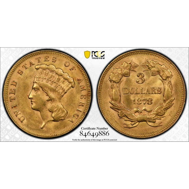 1878 $3 Three Dollar Gold PCGS MS 62 Uncirculated Princess Head US Type Coin