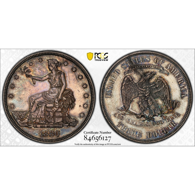 1880 T$1 Proof Trade Dollar PCGS PR 61 Low Minted Proof Only US Coin Toned
