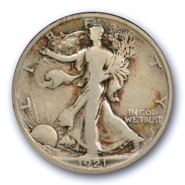 1921 50C Walking Liberty Half Dollar ANACS VG 10 Very Good + Looks Fine !