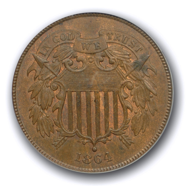 1864 2C Large Motto Two Cent Piece PCGS MS 64 BN Uncirculated Brown US Type Coin