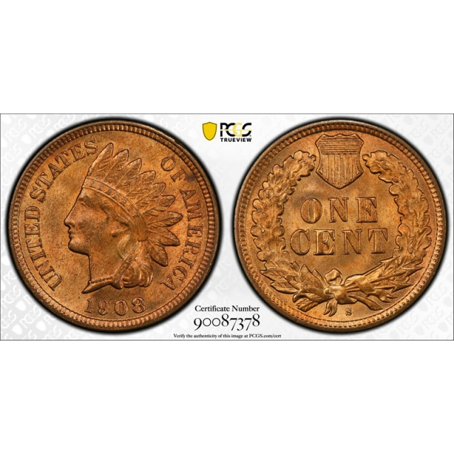 1908 S 1C Indian Head Cent PCGS MS 64 RD Uncirculated Full Red Key Date Tough !