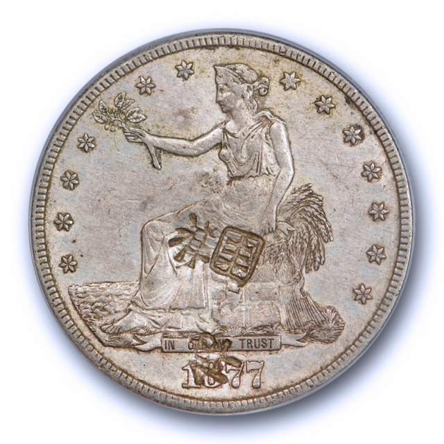 1877 CC T$1 Trade Dollar PCGS AU 55 Chop Marked About Uncirculated Original !