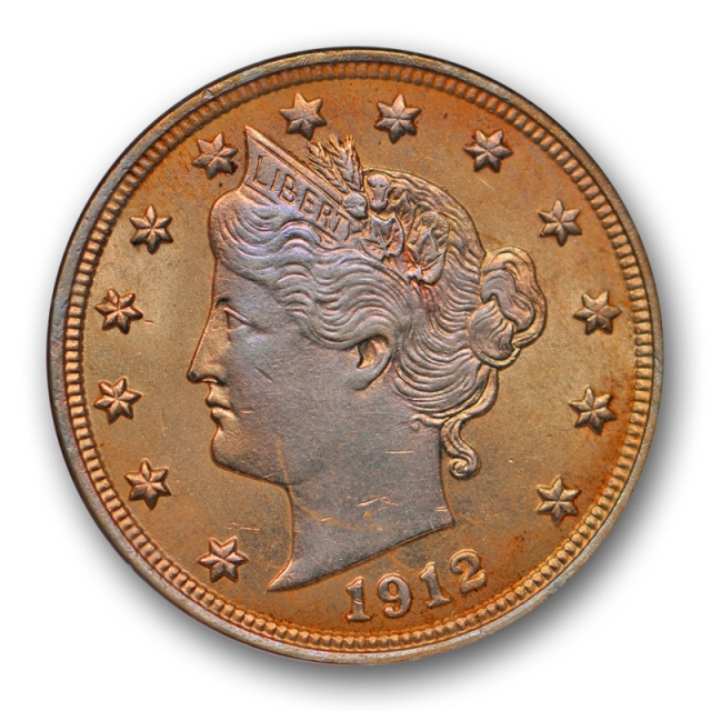 1912 5C Liberty Head Nickel ANACS MS 64 Uncirculated Blue / Orange Toned