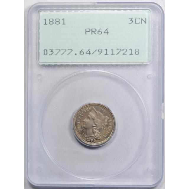 1881 3CN Three Cent Nickel PCGS PR 64 Proof Rattler Holder Original Toned