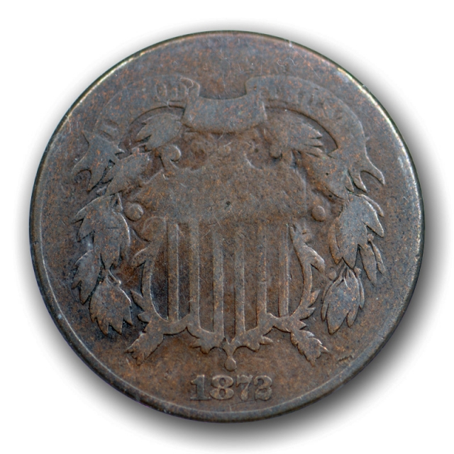 1872 2C Two Cent Piece ANACS G 6 Good to Very Good Key Date Old 1980's Holder !