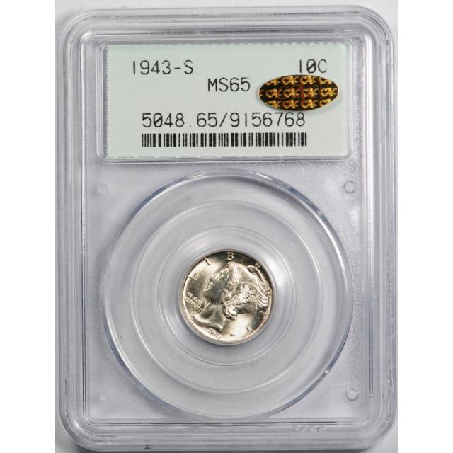 1943 S 10C Mercury Dime PCGS MS 65 Uncirculated Gold CAC Sticker Undergraded