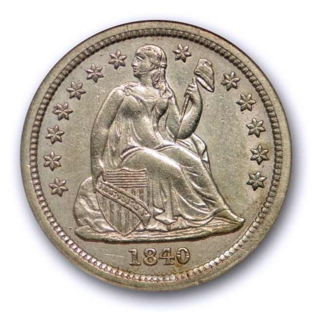 1840 10c Seated Liberty Dime NGC AU 58 About Uncirculated With Drapery !