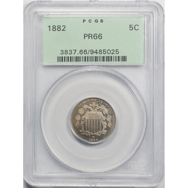 1882 5C Shield Nickel PCGS PR 66 Proof Exceptional Coin OGH Old Holder
