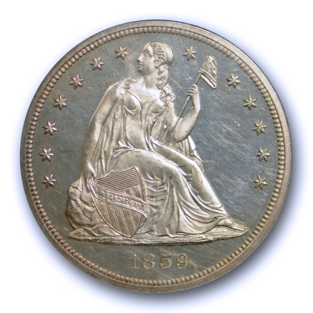 1859 $1 Seated Liberty Dollar NGC PF 63 Proof Issue Low Mintage No Motto Type Coin