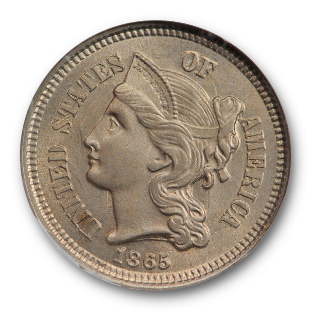 1865 3CN Three Cent Nickel Piece NGC MS 65 Uncirculated US Type Coin Original