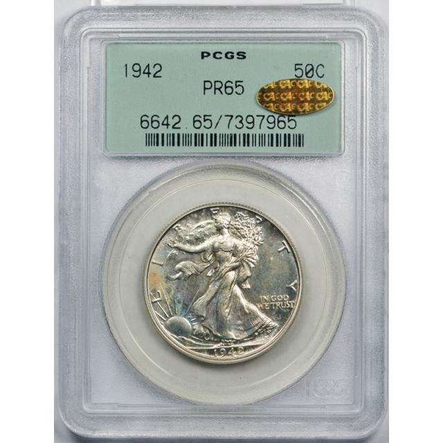 1942 50C Walking Liberty Half Dollar PCGS PR 65 Proof Gold CAC Sticker OGH !