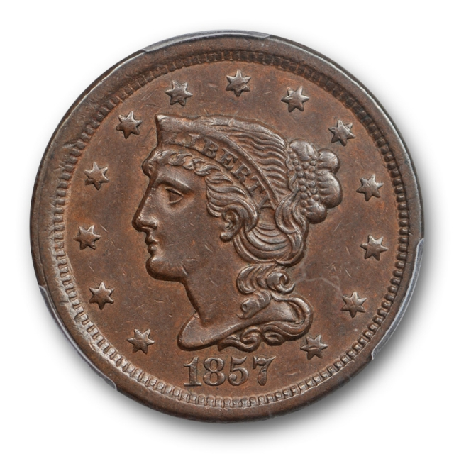 1857 1C Small Date Braided Hair Large Cent PCGS AU 50 About Uncirculated Key Date