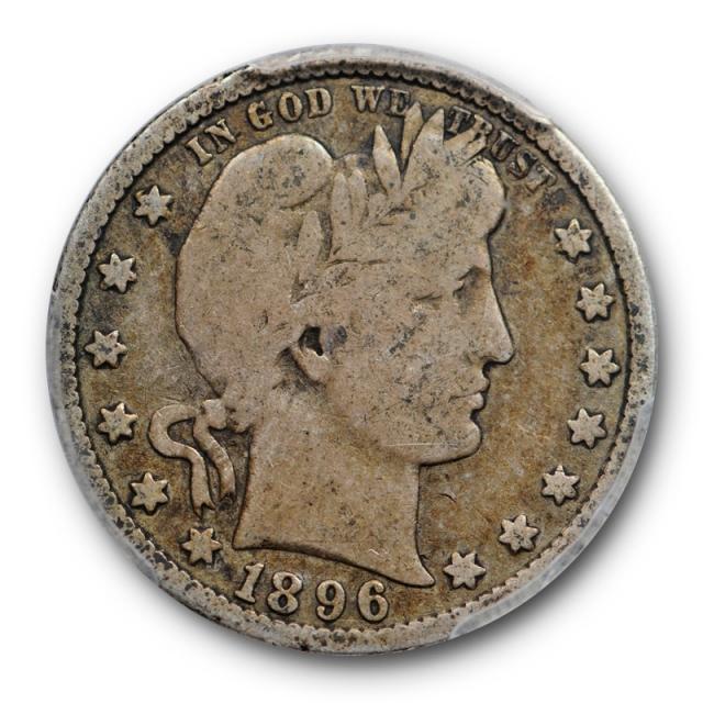1896 S 25C Barber Quarter PCGS VG 8 Very Good CAC Approved Original Key Date