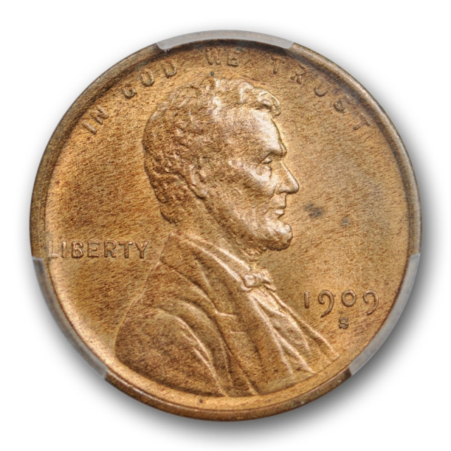 1909 S 1C Lincoln Wheat Cent PCGS MS 64 RB Uncirculated Red Brown Key Date Cert#0467