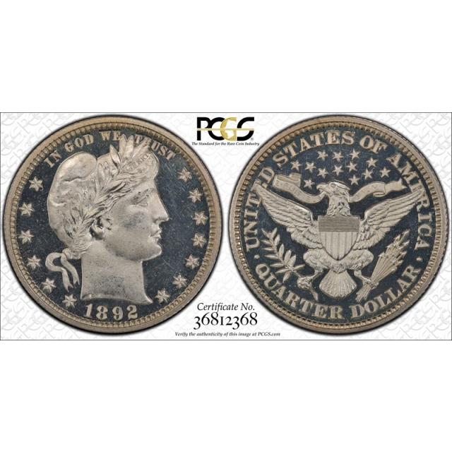 1892 25C Barber Quarter PCGS PR 65 DCAM Proof Deep Cameo Absolutely Stunning !