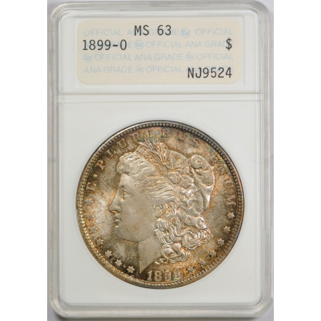 1899 O $1 Morgan Dollar ANACS MS 63 Uncirculated Genie Lamp Style Holder Toned Cert#9524
