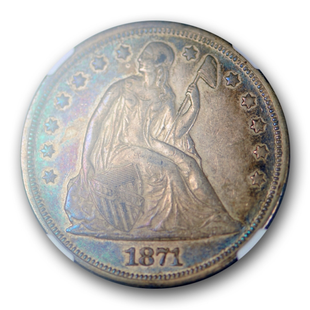 1871 $1 Seated Liberty Dollar NGC AU 58 About Uncirculated CAC Blue / Purple Toned !