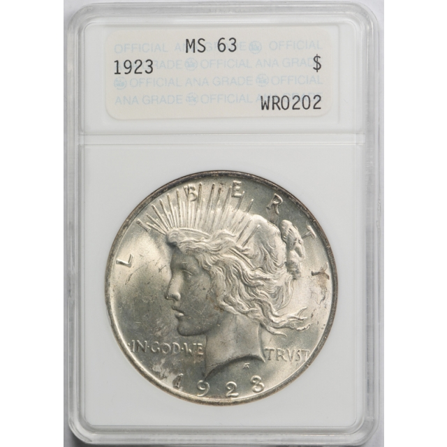1923 $1 Peace Dollar ANACS MS 63 Uncirculated Genie Lamp Holder !